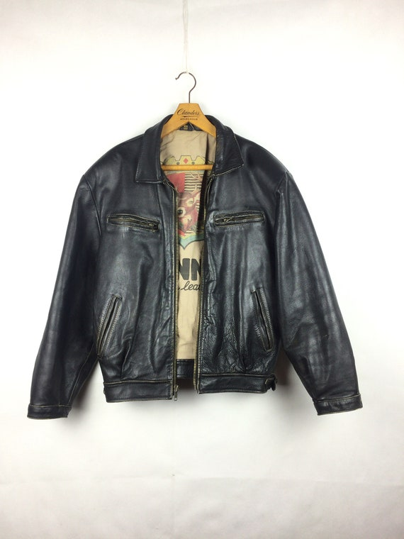 vintage men's leather black  jacket  1980s