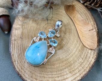 Vintage 925 silver larimar and blue topaz pendant