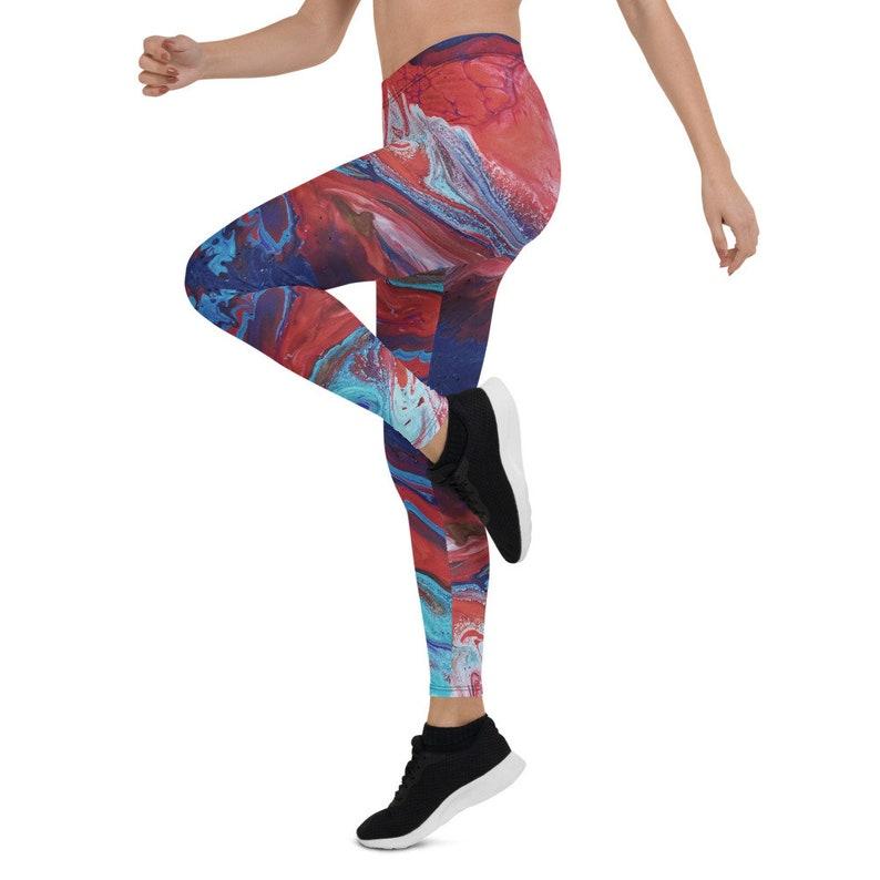 Yoga Tribal Clothing Fitness Leggings Gym Leggings Abstract Art Painting Festival Leggings Red Blue Green Women Leggings Dance Wear