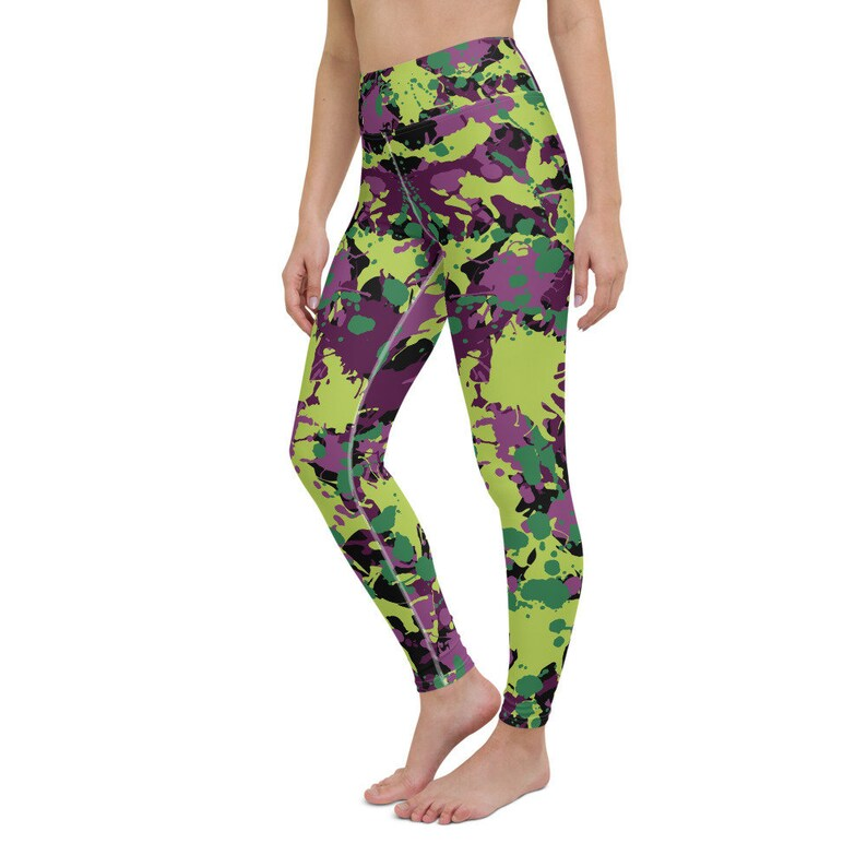 Hip Hop Dance Wear High Waisted With Pocket Green Purple Camo Leggings Military Pattern Festival Clothing Army Camouflage Leggings Women