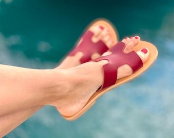 summer leather sandals - burgundy leather mule - light, comfortable - Greek craftsmanship - shipped from France - traditonal greek sandals