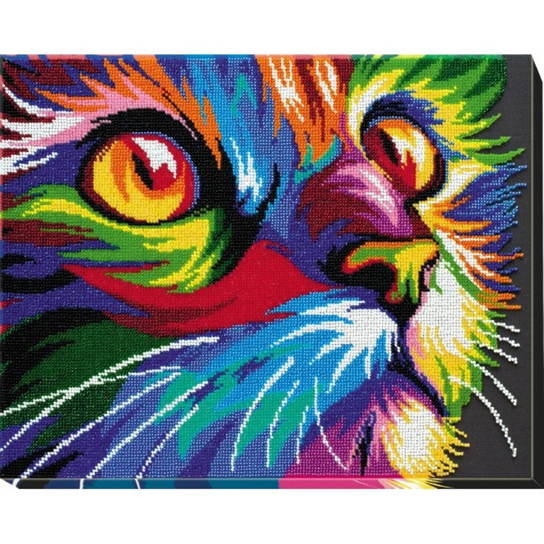 Bead Stitch Painting Beaded Cat Animals  DIY Bead Embroidery Kit Gift Idea Still Life Hand Embroidery Beading Pattern