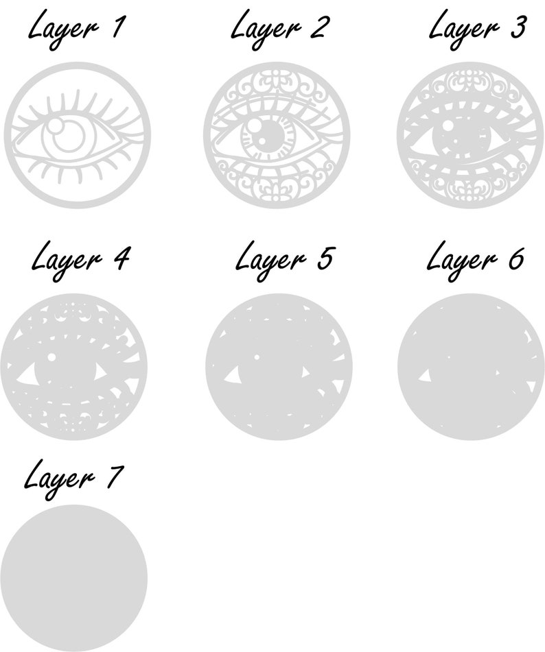 eye svg multilayer laser file Eye Digital File dxf svg pdf eps dwg ai. eye cricut laser cut file svg files for cricut mandala file
