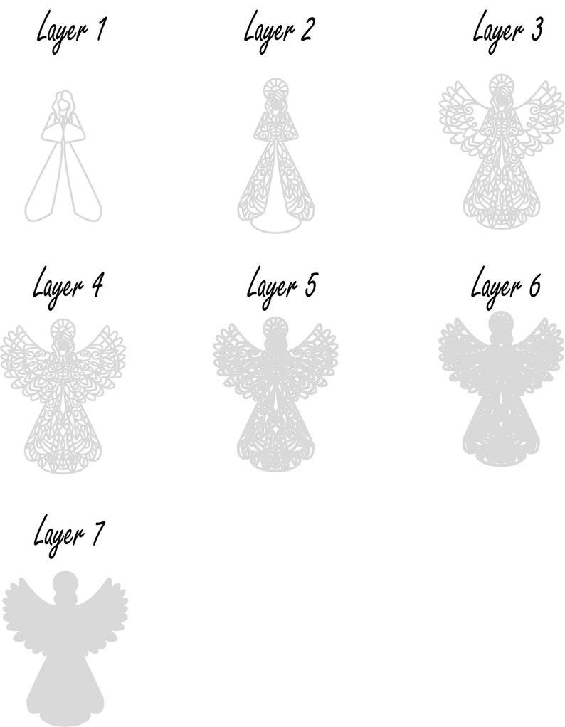 angel svg mandala file angel cricut svg files for cricut laser cut file Angel Digital File multilayer laser file dxf svg pdf eps dwg.