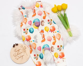 Romper Balloon Animals Party Jersey, Cuddly Soft, for Baby &t. Toddler, Mitwachsbündchen on the Legs, Size 44-92, Premature, Single Layer