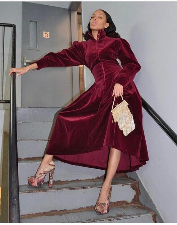 Norma kamali 80s velvet dress large