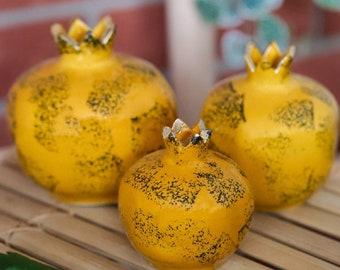 Decorative Yellow Ceramic Pomegranate Vase, Turkish Pottery, Gold Painting, Handmade, Home Decor, Table Decor, Office Decoration, Nice Gift