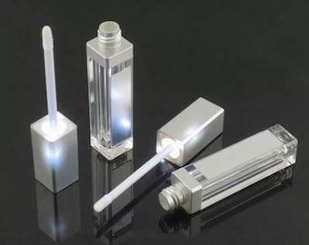 7ML multicolor with LED light lip gloss tube empty tube with mirror lipstick tube lip oil bottle beauty tool