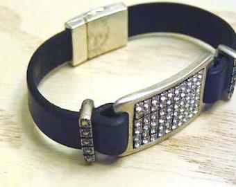"""6 1/4"""" black leather bracelet with Swarovski bling focal"""