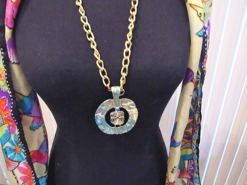 28  gold chain necklace with faux patina focal