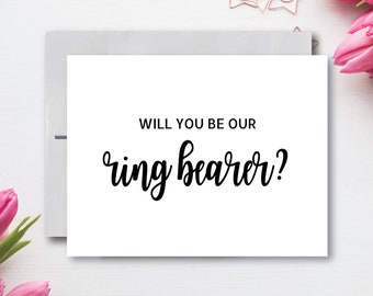 Red Will you be Our Ring Bearer Card DIY Printable  Wedding Rustic Flower Charm  Bright Pink Yellow Wildflowers \u25b7 Instant Download