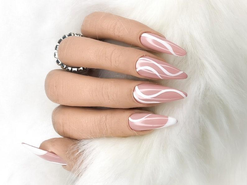 TWIRL  White Swirl Design on Glossy Nude Press On Nails  image 2