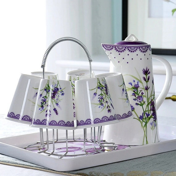 9pcs/set, bone china coffee kettle with cups, teapot ceramic espresso cup, coffee pitcher, pour over, wedding favors and gifts