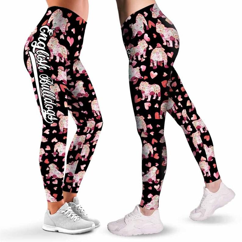 Dog Mom Custom Gift. Bulldog Dog Lovers English Bulldogs Silhouette Flower Leggings For Women Workout Yoga Women Leggings