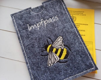 Vaccination passport cover for adults and children embroidered with honey bee, vaccination card protective cover storage