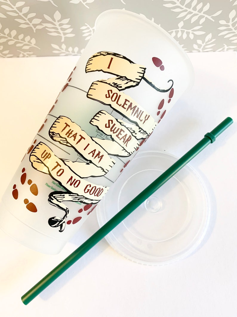 Custom Marauder Themed Starbucks Cup Book Themed Cup Venti Size Tumbler Potter Series Cup Personalized with lid and reusable straw