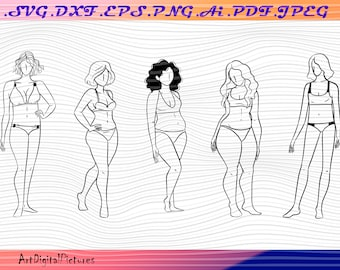 Nude body female woman cutting files for cricut and silhouette Female nude svg Female body svg