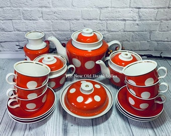 Soviet Porcelain Ceramic Coffee Set for Six Mid Century Coffee Service  Coffee Pot Cup Saucer Cups Saucers 1970s from Russia USSR