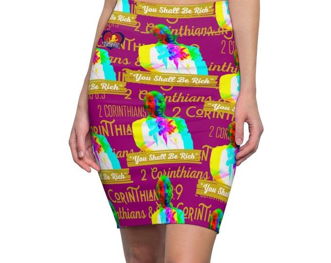 Featured listing image: YSBR Pencil skirt - Print Skirt - Elastic Waist Skirt - Sharp Knee Skirt - Womens Skirt - Fashionable Skirt - Gift For Her