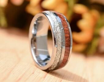Mens wedding band 8mm Deer Antler Inlay Wood Inlay Tungsten Carbine Wedding Bands,  Wood Ring For Men