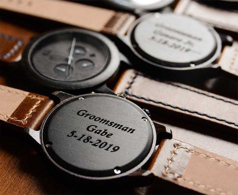 Groomsmen Gifts Custom Groomsmen Gift Wood Watches Engraved image 0