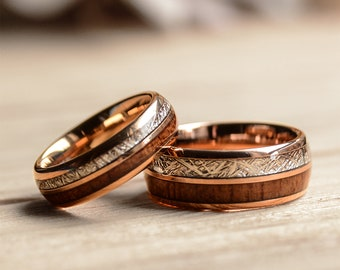 Match His and Hers Rose Gold Tungsten Rings With Meteorite And Wood Inlay-Wood Wedding Band Set, Wedding Band Set Rose Gold,Wedding Ring Set