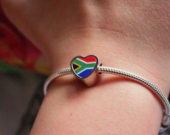 South African Flag heart bracelet charm Pandora style