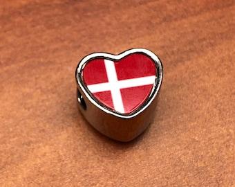 Denmark Danish Flag bracelet charm heart shaped Pandora style