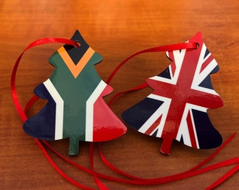 Christmas ornament Double sided South African United Kingdom Christmas Decoration. Tree shaped hanging ornament bright and colourful flags.