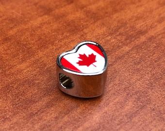 Canadian Canada Pandora Style heart bracelet charm