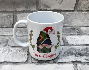 Christmas mug Gnome Gonk Elf South African Merry Christmas Gnome 11 oz mug.Christmas Gnome with South African Flag hat. Hot chocolate mug.