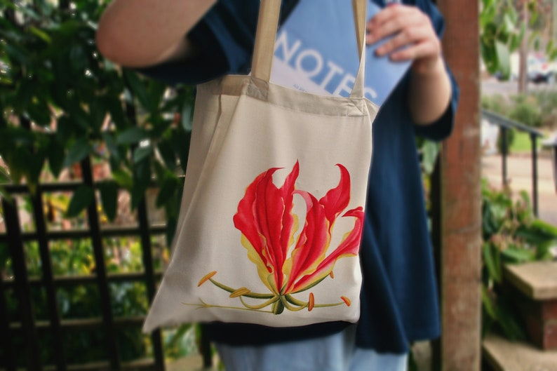 ZimbabweRhodesian Flame Lilly Gloriosa superba tote bag