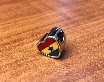 Ghana Flag bracelet charm heart shaped Pandora style charm only for bracelet or necklace.