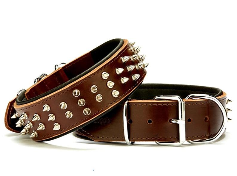 Handmade Dog Collars Spiked Dog Collars Leather Dog Collars Dog Collars Pet Collars Adjustable Dog Collars