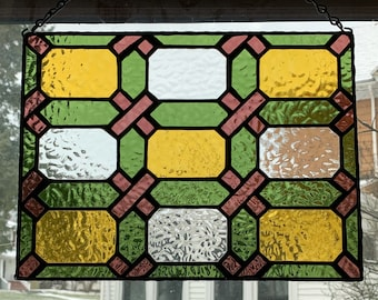 """Victorian looking stained glass panel 9 1/4"""" X 12 1/4""""."""