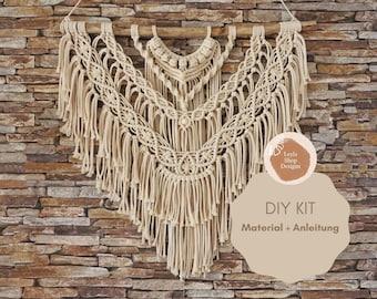DIY Macrame Wall Hanging Wall Decoration Creative Kit Video Guide Instructions Craft Set Materials Beginner
