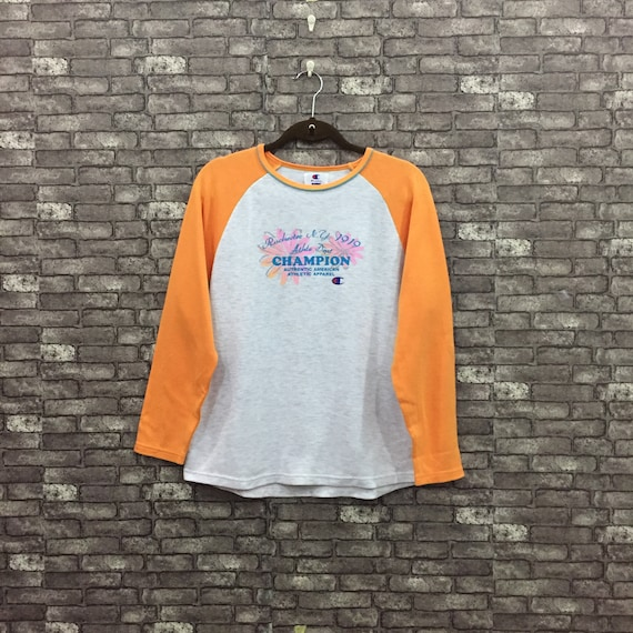 90's Champion Sweatshirt Women Grey Orange Spellou