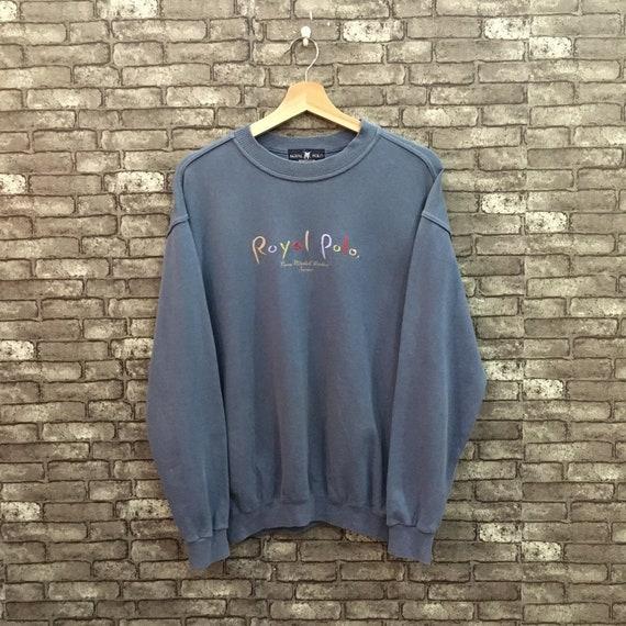 Royal Polo Sweatshirt Gray Blue Spellout Big Logo