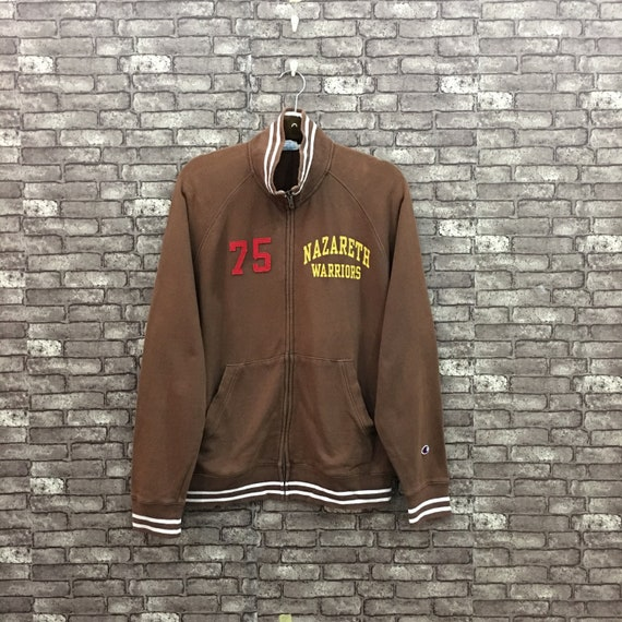 90's Champion Jacket Sweatshirt Brown Spellout Big