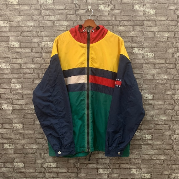 Tommy Hilfiger Windbreaker Color Block Jacket Hood