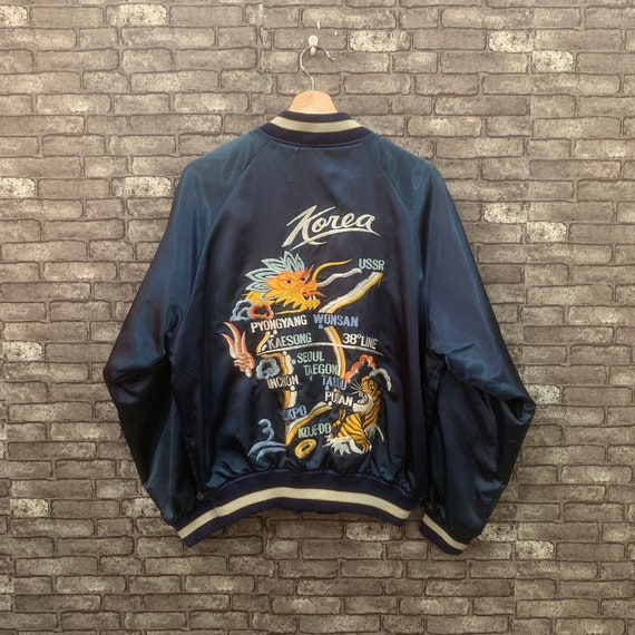 90's Sukajan Jacket Korea Dragon Embroidery Big Lo