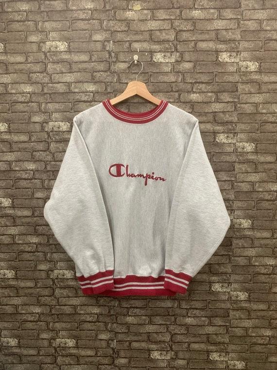 90's Champion Sweatshirt Reverse Weave Grey Red Sp