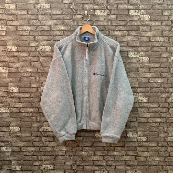 90's Champion Fleece Light Jacket Gray Sweater