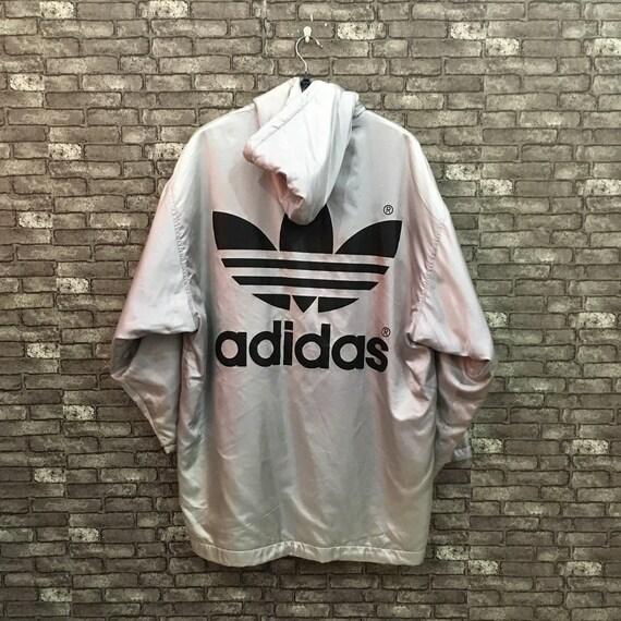90's Adidas Parka Jacket Gray Descente Trefoil Hoo