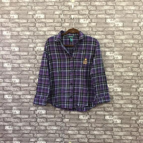Ralph Lauren Plaid Flannel Shirt Purple Black , Wo
