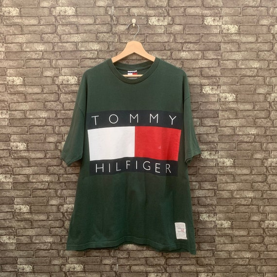 Tommy Hilfiger Short Sleeves Shirt Green Big Flag