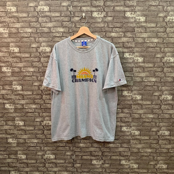 90's Champion T Shirt Gray Miami Champion Tee