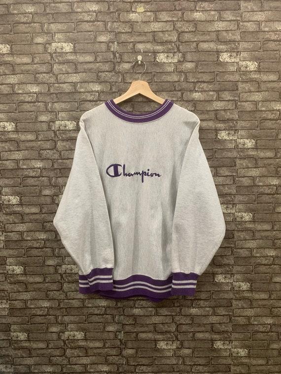 90's Champion Sweatshirt Reverse Weave Grey Purple