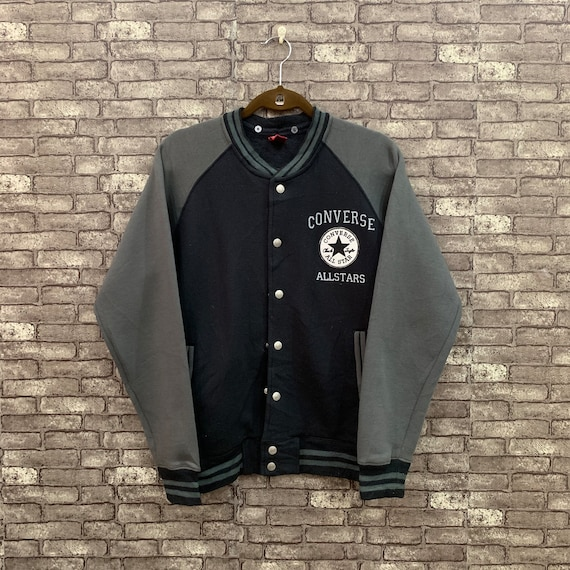 90's Converse Snap Button Varsity Jacket Black Gre