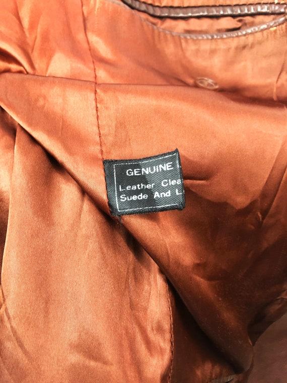 Vintage 70's J. Walden Brown Leather Blazer - image 8